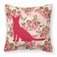 Cat Shabby Chic Pink Roses  Fabric Decorative Pillow