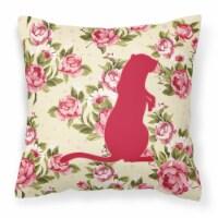 Meerkat Shabby Chic Yellow Roses  Fabric Decorative Pillow - 14Hx14W
