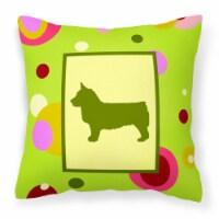 Lime Green Dots Swedish Vallhund Fabric Decorative Pillow