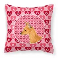 Min Pin Hearts Love and Valentine's Day Portrait Fabric Decorative Pillow