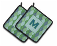 Monogram - Initial M Blue Argoyle  Pair of Pot Holders