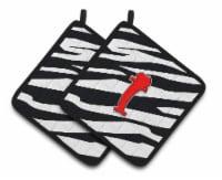 Monogram Initial I Zebra Red  Pair of Pot Holders