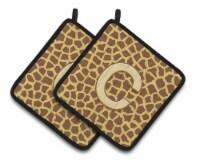 Monogram Initial C Giraffe  Pair of Pot Holders - Standard