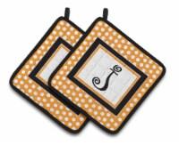 Monogram Initial J Orange Polkadots  Pair of Pot Holders - Standard