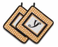 Monogram Initial Y Orange Polkadots  Pair of Pot Holders