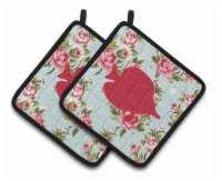 Fish - Tang Fish Shabby Chic Blue Roses  Pair of Pot Holders - Standard