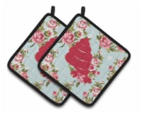 Hermit Crab Shabby Chic Blue Roses   Pair of Pot Holders