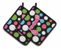 Monogram Initial L Polkadots and Pink  Pair of Pot Holders