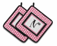 Letter N Monogram - Pink Black Polka Dots Pair of Pot Holders