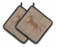 Horse Faux Burlap and Brown   Pair of Pot Holders