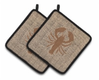 Lobster Faux Burlap and Brown   Pair of Pot Holders - Standard