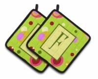 Letter F Monogram - Lime Green Pair of Pot Holders