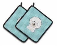 Checkerboard Blue Bichon Frise Pair of Pot Holders - Standard