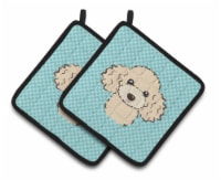 Carolines Treasures  BB1196PTHD Checkerboard Blue Poodle Pair of Pot Holders