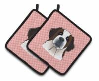 Checkerboard Pink Saint Bernard Pair of Pot Holders
