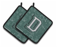 Letter D Back to School Initial Pair of Pot Holders - Standard
