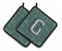 Letter G Back to School Initial Pair of Pot Holders - Standard