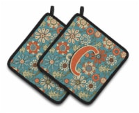 Letter C Flowers Retro Blue Pair of Pot Holders - Standard