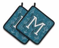 Letter M Sea Doodles Initial Alphabet Pair of Pot Holders - Standard