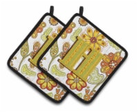 Letter H Floral Mustard and Green Pair of Pot Holders - Standard