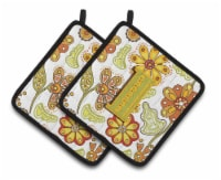 Letter I Floral Mustard and Green Pair of Pot Holders - Standard