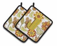 Letter J Floral Mustard and Green Pair of Pot Holders - Standard