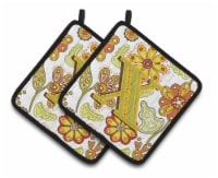 Letter X Floral Mustard and Green Pair of Pot Holders - Standard