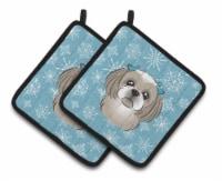 Snowflake Gray Silver Shih Tzu Pair of Pot Holders