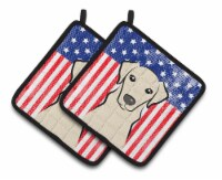 American Flag and Yellow Labrador Pair of Pot Holders