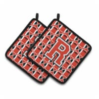 Letter R Football Scarlet and Grey Pair of Pot Holders - Standard