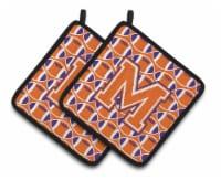 Letter M Football Orange, White and Regalia Pair of Pot Holders - Standard