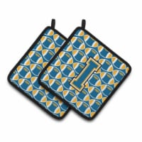 Letter I Football Blue and Gold Pair of Pot Holders - Standard