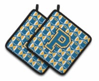 Letter P Football Blue and Gold Pair of Pot Holders - Standard