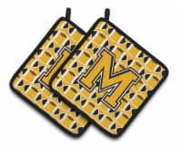 Letter M Football Black, Old Gold and White Pair of Pot Holders - Standard