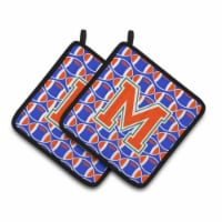 Letter M Football Green, Blue and Orange Pair of Pot Holders - Standard