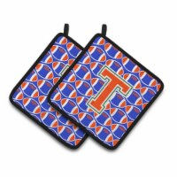 Letter T Football Green, Blue and Orange Pair of Pot Holders - Standard