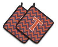 Letter T Chevron Orange and Blue Pair of Pot Holders - Standard