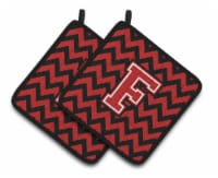 Letter F Chevron Black and Red   Pair of Pot Holders