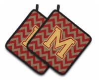 Letter M Chevron Garnet and Gold  Pair of Pot Holders - Standard