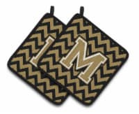 Letter M Chevron Black and Gold  Pair of Pot Holders - Standard