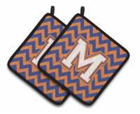 Letter M Chevron Blue and Orange #3 Pair of Pot Holders - Standard