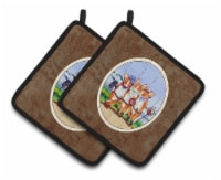 Carolines Treasures  7283PTHD Cowboy Corgi Pair of Pot Holders - Standard