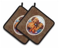 Long Hair Red Dachshund Two Peas Pair of Pot Holders - Standard