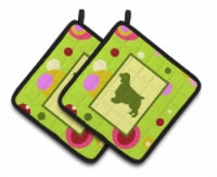 Lime Green Dots Welch Springer Spaniel Pair of Pot Holders - Standard
