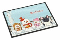 Merry Christmas Carolers French Bulldog Black White Indoor or Outdoor Mat 24x36