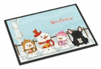 Merry Christmas Carolers French Bulldog Black Indoor or Outdoor Mat 24x36