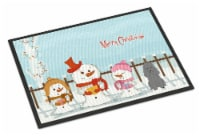 Merry Christmas Carolers Poodle Silver Indoor or Outdoor Mat 24x36 - 24Hx36W