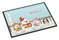 Merry Christmas Carolers Shih Tzu Black White Indoor or Outdoor Mat 24x36