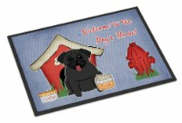 Dog House Collection Pug Black Indoor or Outdoor Mat 24x36 - 24Hx36W