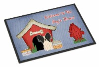 Dog House Collection Papillon Black White Indoor or Outdoor Mat 24x36